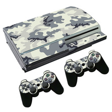 Camo PVC Sticker For Sony PS3 Fat Console Skin & 2 Pads For Playstation 3 Controller Decal TN-P3-2104(China)