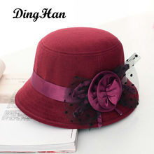 [DingHan] Vintage Stylish Fall Winter Hat For Women Flowers Top Hat For Lady Girls Trilby Floppy Cartola Female Felt Bowler Cap