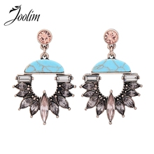 JOOLIM Jewelry Wholesale/2017 Luxe Blue Gray Glass Chandelier Dangle Earring High Fasion Free Shipping(China)