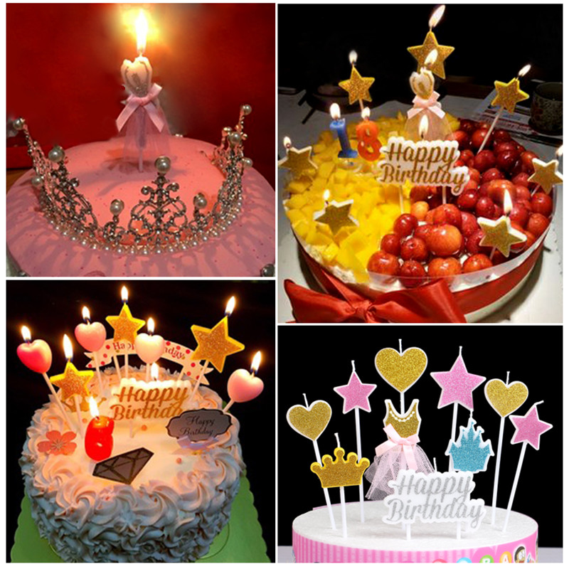 2018 Birthday Cake Candle Kids Gift Star Snow Party Supplies