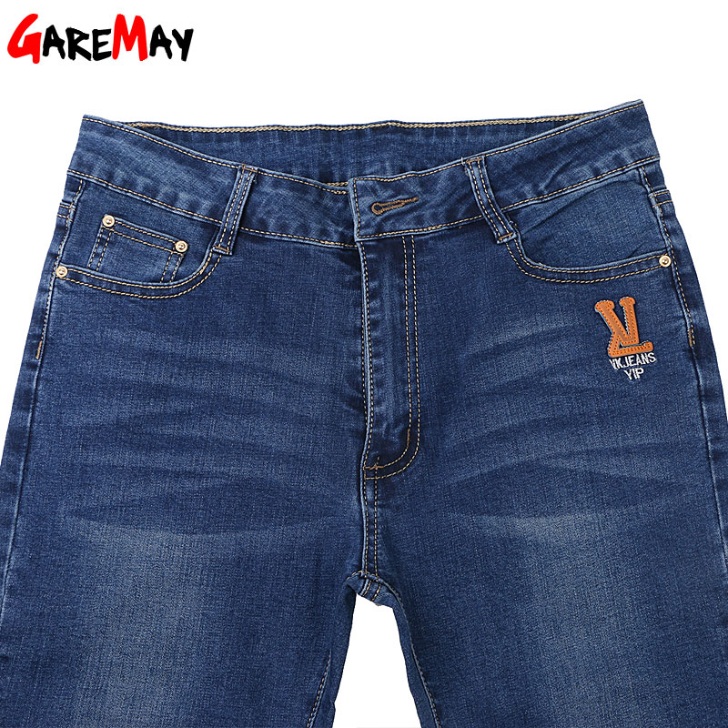 Jeans Woman Denim High Elastic Pants For Women Plus Size 38 Pantalones Mujer Jeans Feminina Cintura Alta Trousers GAREMAY 6019