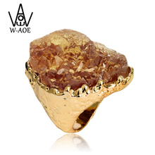 High Quality 2017 Luxury Brand Fashion Gold Color Big Natural Stone Rings For Women Girl Wedding Ring Jewelry Party Gift(China)