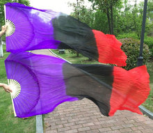 Real Silk Long Fan Veil For Belly Dance Thicker Oriental Dancing Veil Fan Right Left Hand 180cm Purple Black Red