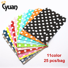 Cyuan 25pcs 13x18cm Mini Polka Dot Paper Bags Popcorn Food Gifts Candy Treat Bags Wedding Birthday Buffet Party Decoration