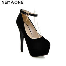 NEMAONE fashion sexy ladies spring and autumn high heel platform pumps ankle strap party high heel shoes woman large size 31-43(China)
