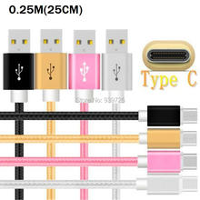 25CM Short Type C usb 3.1 Braided nylon fabric cable Accessory Bundles for samsung note 7 Lg g5 nokia n1 etc