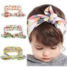 Fashion Printed Flower Floral Hairband Turban Rabbit Bow knot Headbands Headwear Hair Band Accessories KT060