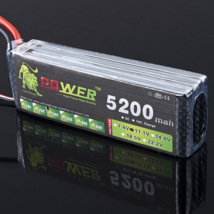 High-Quality LION POWER Lipo 3S Battery 11.1v 5200mAh 30C Battery For RC Helicopter RC Car Boat Quadcopter Remote Control Toys <br>