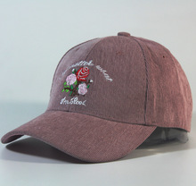 European American No Matter What I'm Cool Fashion Rose Flower Embroidered Corduroy Floral Baseball Caps Hat for Men and Women