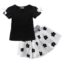 girls clothes summer 2016 Baby Girls Black Short Sleeve T Shirt+ Floral Skits Dress 2pcs Clothes Outfits Set