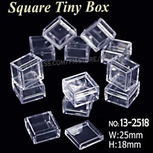25x18mm Tiny Square Box Clear Plastic Storage for DIY Tool Nail Art Jewelry Accessory beads stones Crafts case container(China)