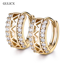 GULICX Cubic Zircon Small Hoop Earrings Jewelry for Women Hollow White Crystal CZ Zirconia Fashion Jewellery Accessories E183(China)