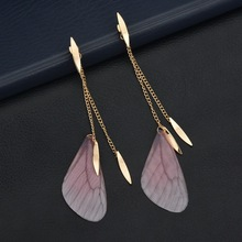 New trendy street shoot gold color chain tassel fashion natural wind Butterfly Wings charm Drop Earring women