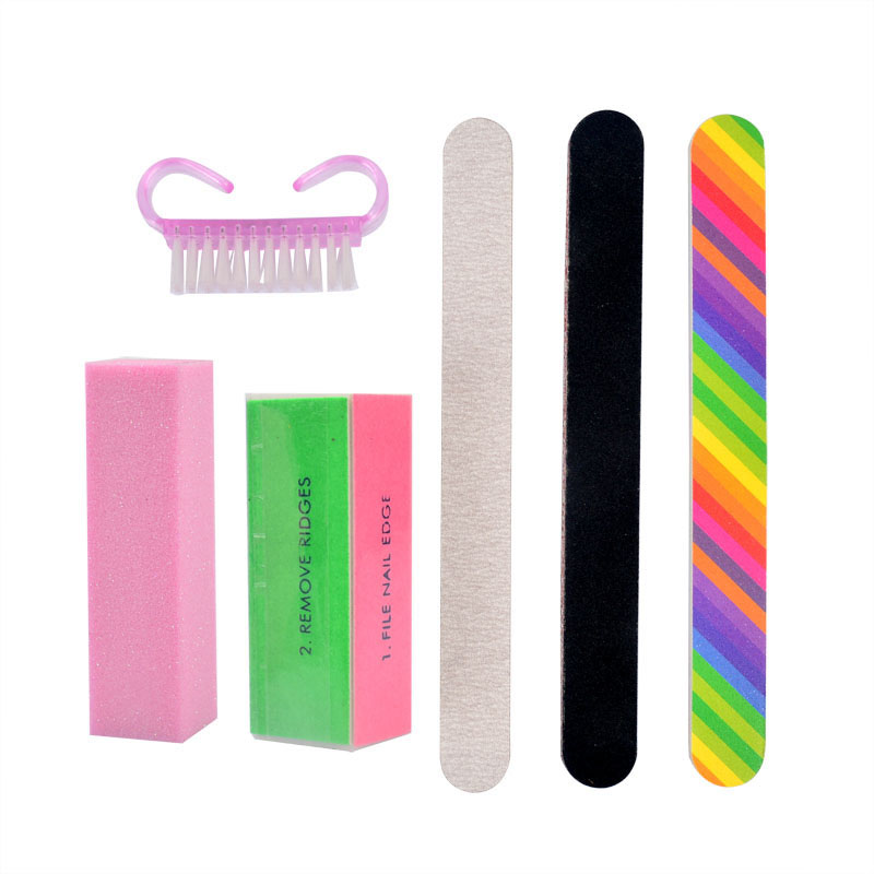 Shellhard 6Pcs Durable Buffing Grit Sand Fing Nail Art Tools Polishing Set Sanding Block Brush Manicure Care Beauty Set