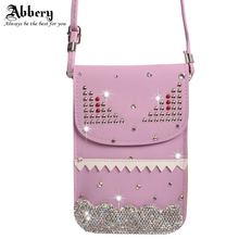 6.3 inch Cell Phone Bag for iphone 7 Bling Diamond Matte Leather Pouch Purse Wallet Case Mini Crossbody Bag with Shoulder Strap