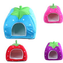 Foldable Soft Warm Strawberry Cave Dog Bed Cheap Leopard Print Cute Pet House Kennel Nest Dog Fleece Cat Tent Bed