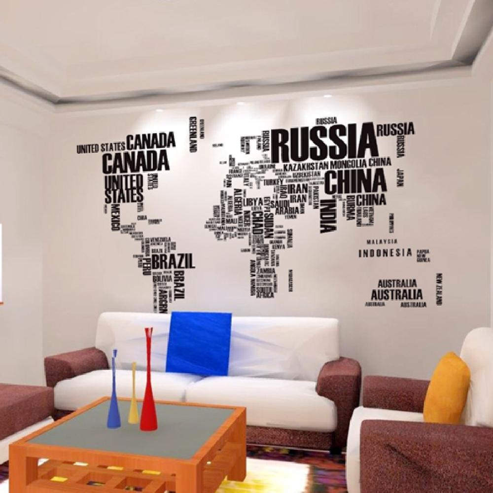 new large world map wall stickers original creative letters map wall art bedroom home decorations wall decals(China (Mainland))