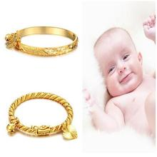 Fashion Baby Kids Lucky Charm Jewelry peach heart little baby Girl  Gold Color bracelets bangles for children boys