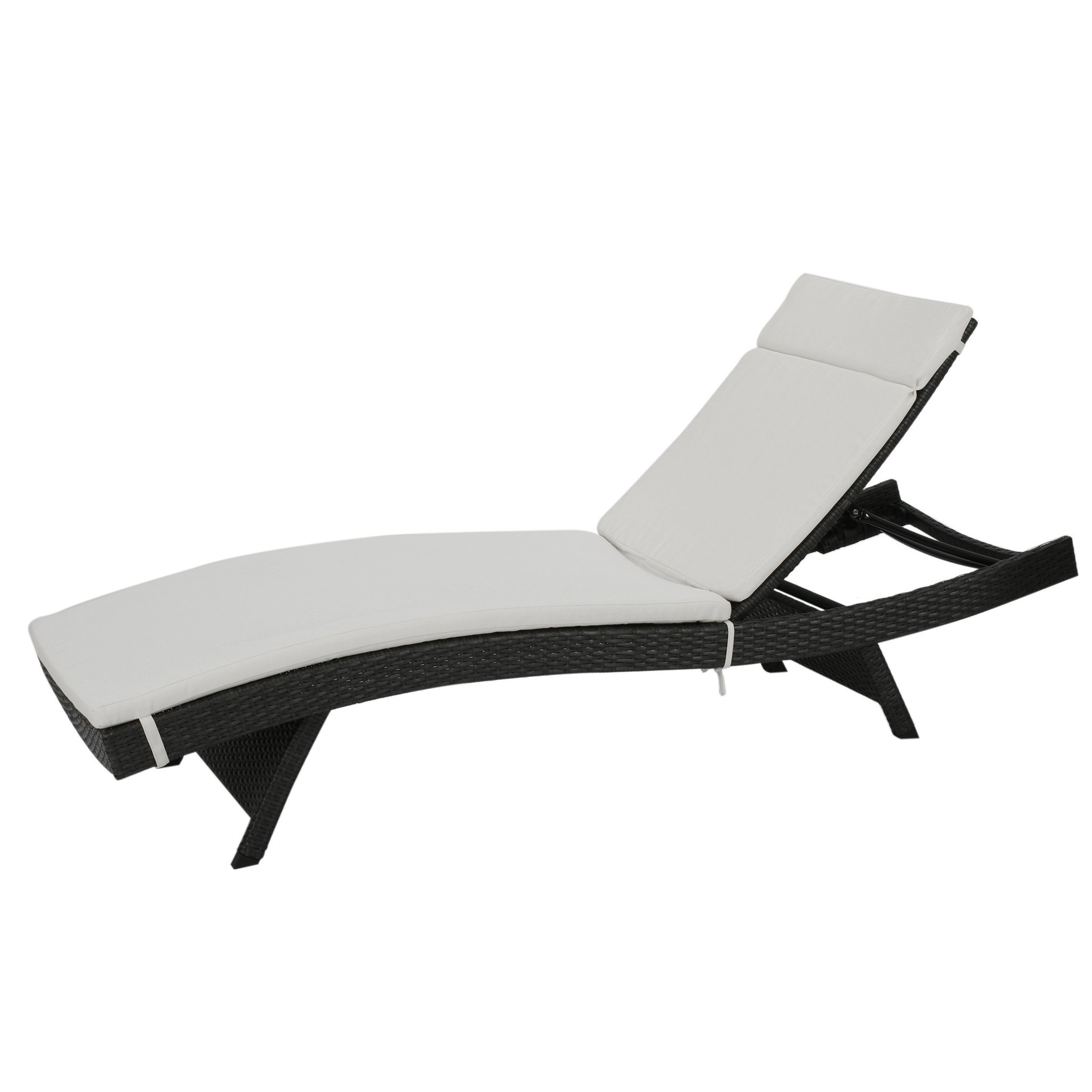 Nassau Outdoor Grey Wicker Adjustable Chaise Lounge with Ivory Cushion (1)