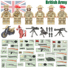 World War II WW2 North African Campaign United Kingdom British Eighth Army Small Toy Figure Military Building Block MOC Weapon(China)