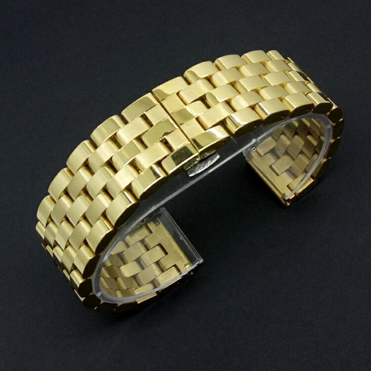 New 2016 High Quality Watch band 20mm 22mm 24mm Gold Metal Stainless Steel Watchband BANDS Straps Bracelets Silver Clasp Buckle<br>