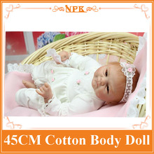 18Inch NPK Dolls Silicone Baby Reborn Dolls Lifelike Doll Reborn Babies Toys For Girl Pink Princess Gift Brinquedos For Kids
