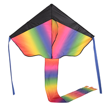 Colorful Rainbow Delta-shaped Flying Kite Outdoor Beach Toys for Kids Adults with Tail Ribbons 30m String