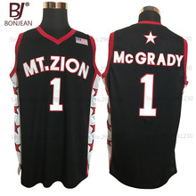 Cheap Tracy McGrady 1 Mount Zion Christian Academy Black Throwback Basketball Jersey Stitch Shirt For Mens