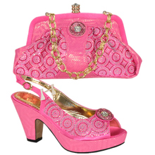 Latest Shoe and Bag Set African Sets Pink Color Shoes and Bag Set Decorated with Appliques Italian Shoe and Bag Set for Wedding