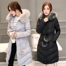 2017 new winter jacket, waist long hair ball thickening coat manufacturers selling Korean women