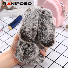 Lovely Rabbit Warm fur hair Phone Case For Samsung Galaxy A7 A5 A3 2016 2017 Soft TPU Back Cover For Samsung A5 A7 A3(China)