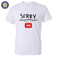 Hot Video Sorry YouTube Rewind: The Ultimate 2016 Challenge t shirt for man Short Sleeve Fashion Tees