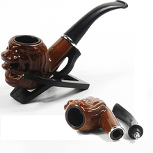 Classic Old Resin Smoking Pipe Grandfather's Retro Vintage Pipes with a Removable mouthpiece to Clean Filter By Water or Brushes(China)