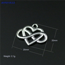 High Quality 20 Pieces/Lot 20mm*25mm Alloy Metal Silver Plated Infinity Heart Endless Love Charm Pendant For Jewelry Making
