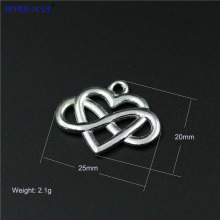 High Quality 20 Pieces/Lot 20mm*25mm Alloy Metal Silver Plated Infinity Heart Endless Love Charm Pendant For Jewelry Making(China)