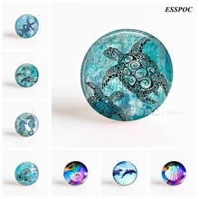 Sea Turtle Dolphin Seashells DIY Handmade Round Photo Glass Cabochons 25 Mm for Pendant Making Fashion Jewelry Accessories(China)