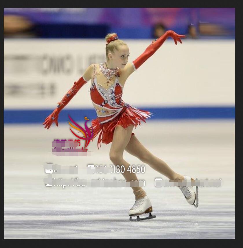 Red Ice Figure Skating Dresses Custom Women Competition Skating Dress Girls