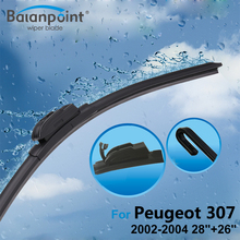 "2Pcs Wiper Blades + 2Pcs Soft Rubbers for Peugeot 307 2002-2004 28""+26"", Windshield Wipers Sale"