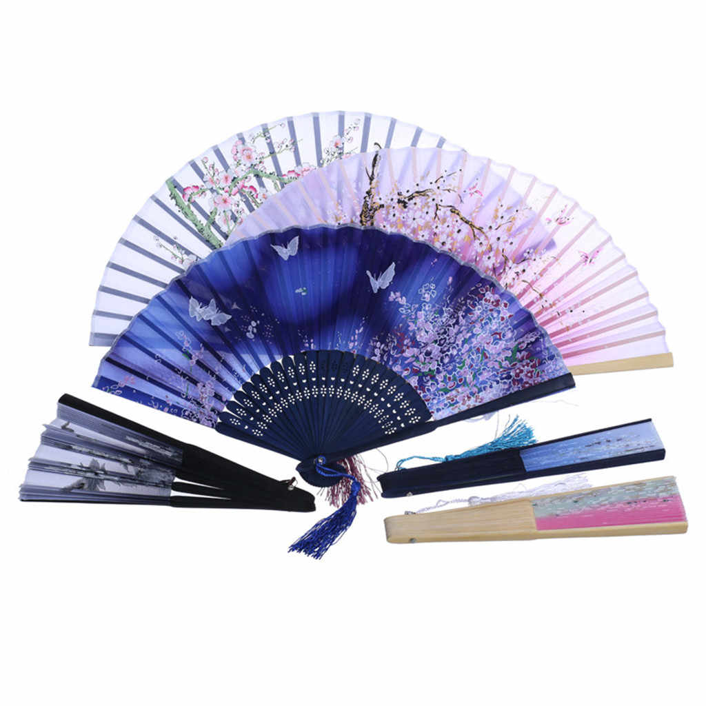 Best Chinese Style Dance Wedding Party Lace Silk Folding Hand Held Flower Fan new330