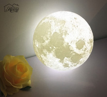 18CM 3D USB LED Magical Moonlight With Base Table Desk Moon Lamp Home Decoration Indoor LED Night Light Birthday Valentines Gift(China)
