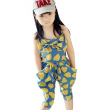 2-7Y  Kid Girls Heart Pattern One Piece Sling Jumpsuit  Cropped Trousers Harem Pants