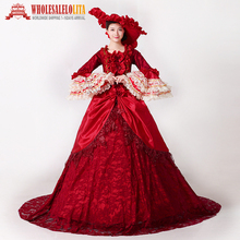 Brand New Renaissance Elizabeth Reenactment Dress 18th Century Medieval Marie Antoinette Dress with Train Theatre Prom Dress(China)
