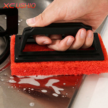 Rectangle Handy Fiber Sponge Cleaning Brush with Handle Kitchen Sink Bathroom Floor Cleaning Brush Household Cleaning Tools(China)