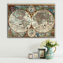 Vintage Map Of World Spray Printing On Canvas High Quality Map Of the World Old New Fashion Art Home Wall Picture Frameless
