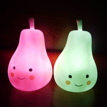 Candy Color Pear Shape Light Children Silicone Light-Up Toys Kid Room Decorated Pear Night Light Lamp