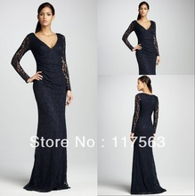 Watch!Free Shipping!2013 Designer Deep V Neck Empire Waist Long Sleeve Lace Evening Gown Black Dress For Women WL035