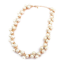 New Imitation Pearl Necklace SALE Gift New Good Quality Inlaid With Imitation Zircon Short Choker(China)