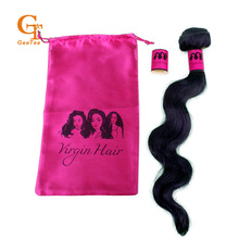 Virgin Hair extension bundle wrapping paper stickers and satin bags packing, Stock pink color background black logo, hair labels