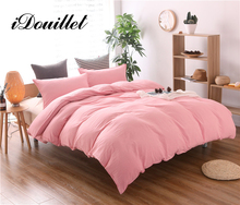 iDouillet New Stone Washed Cotton Duvet Cover Set with Pillow Cases White/Pink Bedding Twin Full Queen King Size Home Textile