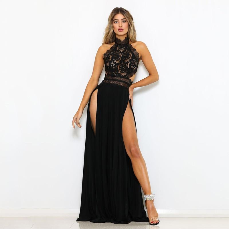 GACVGA Sexy Women Sleeveless Summer Dress Halter Neck Lace Crochet Evening Maxi Long Dress Backless Party Dresses Vestido 7